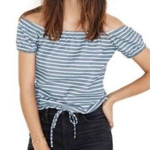 Madewell Striped Melody Off Shoulder Top XS